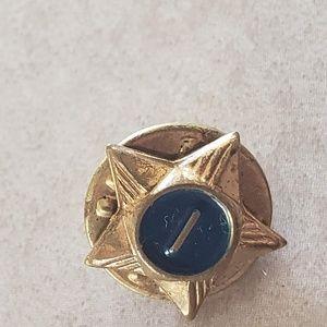 Vintage Letter I Blue Star Pin